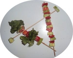 brochette de légumes crus
